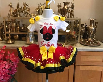 Red Minnie mouse tutu set,oh twoodles Minnie mouse tutu outfit, second birthday outfit girl, Minnie mouse oh twodles birthday shirt, dress