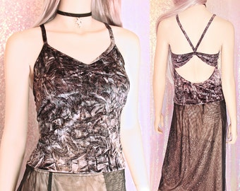 90s Crushed Velvet Glitter Top - 90s Rave Club Kid Dancewear 90s Clothing 90s Goth 90s Festival Dancewear 90s aesthetic witchy steampunk