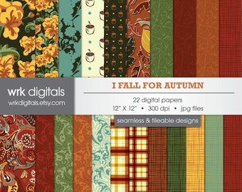 I Fall For Autumn Seamless Digital Paper Pack, Digital Scrapbooking, Instant Download, Floral, Acorn, Paisley, Leaves