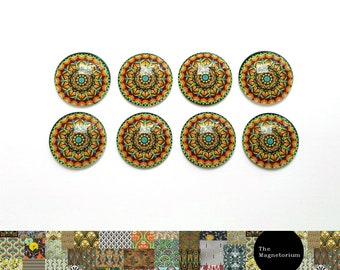 Rainbow / Stained glass look Patterned Glass Cabochon Fridge Magnet Set