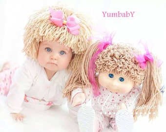 READY TO SHIP- Cabbage Patch Hat, Beanie Wig, Baby costume, baby girl, baby hats