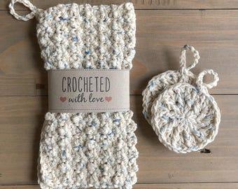 Crochet wash cloth & face scrubbie set. 100% cotton and vegan