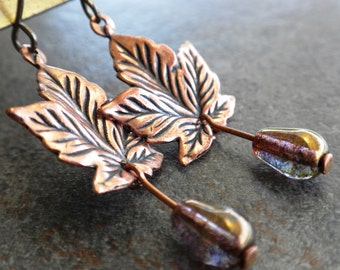 Ready to Ship Fashion Gift Autumn Leaf Earrings with Niobium Wires