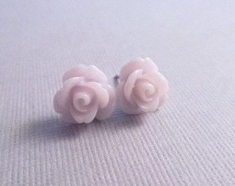 Rose Earrings, Lavender Flowers on Stainless Steel Posts, Stud Earrings, Flower Jewelry, Post Earrings, Rose Jewelry, Rose Studs, Petite
