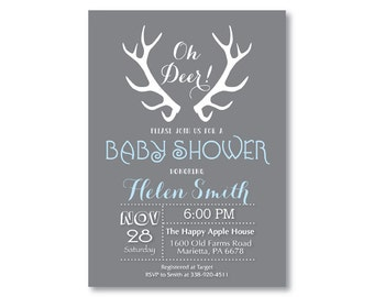 Deer Baby Shower Invitation. Deer Antler Baby Shower Invitation. Gray Blue Pink Purple Aqua. Boy or Girl Shower Invite. Printable Digital.