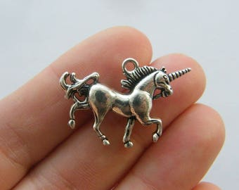 2 Unicorn charms antique silver tone A824