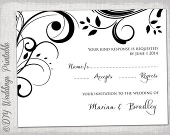 rsvp template download diy black and white scroll response card digital wedding printable editable word template and jpg to print at home