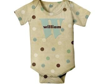 Baby Bodysuit Polka Dot Personalized Monogram Gender Neutral Boy Girl Infant One Piece Snapsuit