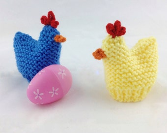 Knitted Chicken Egg Cozy - Chicken Egg Holder - Easter Basket Gift - Easter Decoration - Easter Colors - Kids Toy - Set of Two