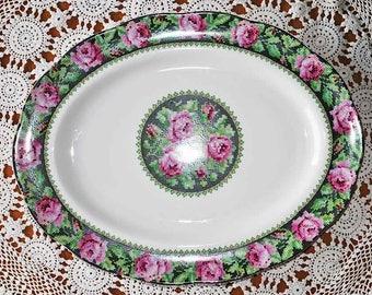 Vintage Royal Albert Rare Needlepoint Large Serving Platter / Large Platter / Needlepoint Bone China Platter / Pink Roses Serving Platter