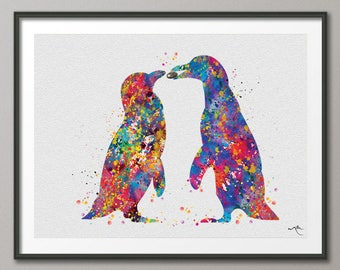 Penguin Watercolor Art Print Marriage Proposal Pebble Wedding Gift Love Giclee Wall Decor Art Home Decor Wall Hanging Housewares [NO 837]