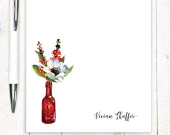 Personalized Notepad - stationary - stationery - anemone flower - watercolor floral - custom paper - Watercolor Flowers in RED WINE BOTTLE