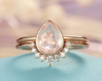 Rose Quartz Engagement Ring Rose Gold engagement ring Vintage Diamond Wedding ring set Women Bridal jewelry Pear Shaped Cut Stacking Promise