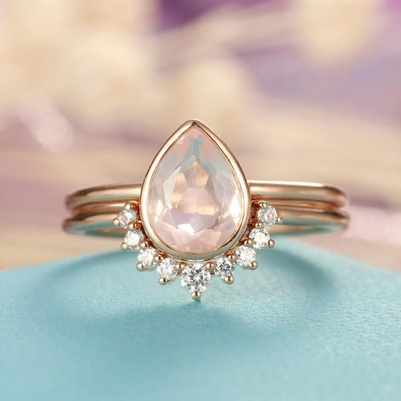 engagement wedding pear rose gold quartz rings set diamond pin vintage jewelry bridal ring women