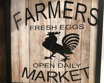 black framed  framers market picture with white barn wood look background