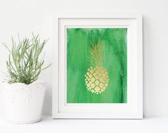 Pineapple Print, gold pineapple print, pineapple wall art, summer print, pineapple poster, nursery print, kitchen print, green gold