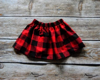 Toddler Skirt, Buffalo Plaid Skirt, Christmas Outfit, Baby Skirt, Toddler Girl Clothing, Winter Skirt, buffalo plaid Christmas Skirt