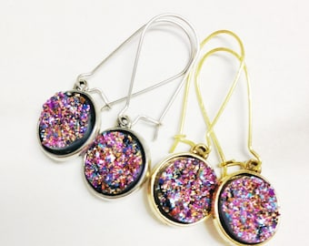 Pink Druzy Drop Earrings - Pink Druzy Dangle Earrings - Pink Druzy Earrings - Druzy Earrings in Pink and Gold - Valentine's Day Earrings