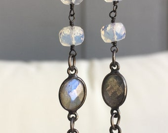 Opalite and Labradorite bezel set oxidized sterling earrings