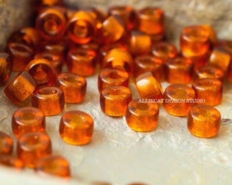 20 Madeira Topaz 6mm Pony Czech Glass Beads (A374)