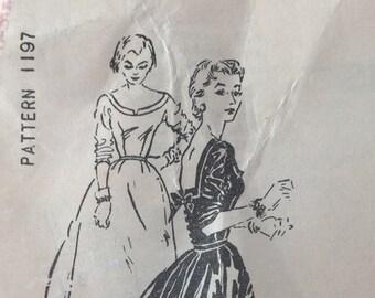 Vintage Spadea Dress Pattern 1197, Designer Harvey Berin, Square Back Neckline with Bow, Size 10, 1950's Sewing Pattern