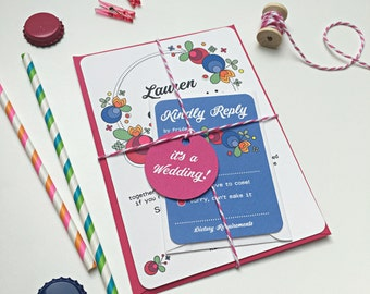 Retro Carnival Wedding Invitation Stationery Suite with RSVP & Tag  - SAMPLE | Elsie Range