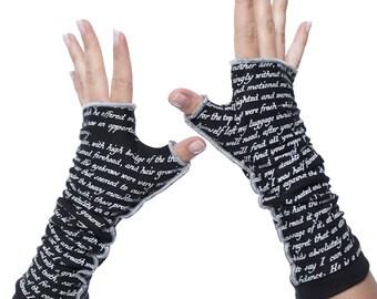 Dracula Writing Gloves - Fingerless Gloves, Arm Warmers, Bram Stroker, Literary, Book Lover, Books, Reading