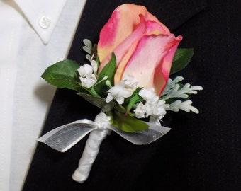 Boutonniere - Pink Silk Rose Flower Boutonniere - Floral Boutonniere - Prom Boutonniere - Wedding Boutonniere