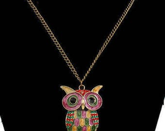 Mosaic Owl Necklace