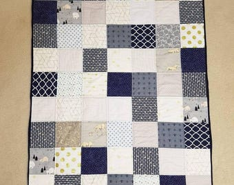Navy and Neutral Crib Sized Baby Quilt