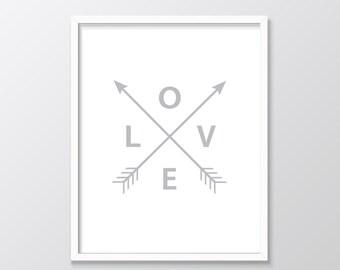 Grey Love Arrows Printable Art, Grey Arrows, Grey Printable Art, Grey Wall Art, Love Arrows Print, Digital Print
