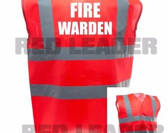 Fire Warden Printed Red Enhanced Safety Vest Waistcoat Hi Viz/Vis Visibility Workplace/Business