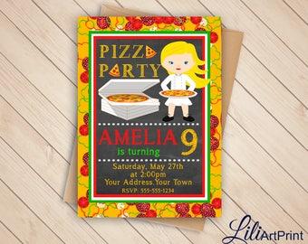 Pizza Party Birthday Invitation, Pizza Invite, Pizza Party Birthday Party, Digital file (6)