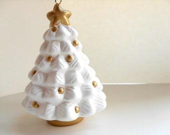 Ceramic White Christmas Tree - Ornament, decoration, gold and white Christmas tree, keepsake ornament, gold star, secret santa gift under 20