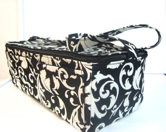 Super Large 6 inch Depth Double Wide Fabric Coupon Organizer - With ZIPPER CLOSER  Black and White Scrolls