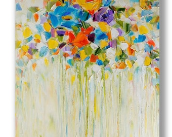 FREE SHIPPING Oil Abstract Painting Colorful Painting Oil Painting  Modern Painting Contemporary Painting Palette Knife Painting Oil Artwork