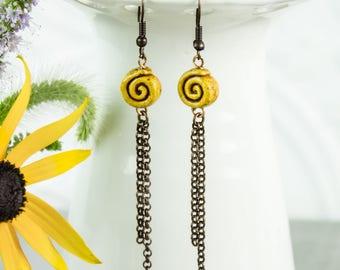 Yellow Spiral Dangle Earrings, Clay Bead copper chain tassel geometric Gift under 25 modern Boho jewelry
