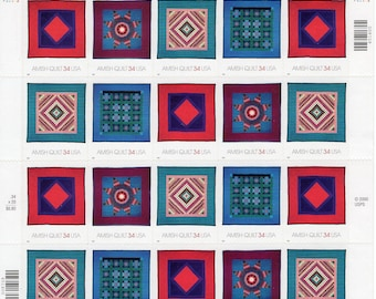 American Treasures - Amish Quilts (20) - 2001- Mint-Unused- Scott 3524- 3527 - Full Sheet