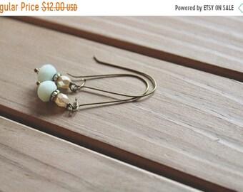 30% OFF SALE Ivory pearl bead, rhinestone, and pale pink glass bead drop earrings, kidney wire earrings