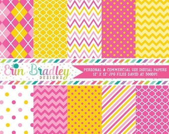 80% OFF SALE Monkey Girl Pink & Yellow Digital Paper Pack Commercial Use Instant Download