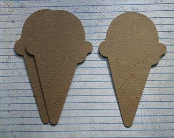 3 Bare chipboard die cuts Ice Cream cone Diecuts style no.2