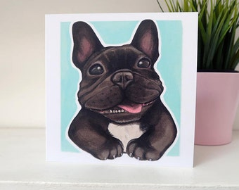 Black & White French Bulldog (Frenchie) Card - Turquoise