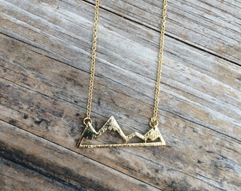 Gold Mountain Necklace, Mountain Charm Necklace, California Necklace, Northwest Necklace, Gift for her, 18k Gold