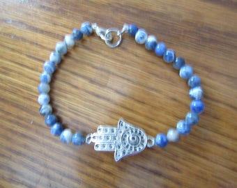 """Hamsa and Sodalite 9""""  Bracelet  #107"""