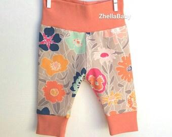 Coral Floral Baby Girl Leggings, Floral Baby Leggings, Floral Toddler Leggings, Pink and Navy Floral Leggings, Floral Baby Clothes, Jersey