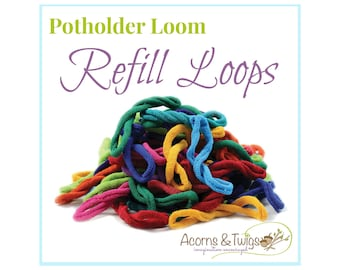 Potholder Loops Refill for Harrisville Designs' Potholder Loom, Individual Bright Colors, Set of 18 cotton Loops your choice from 34 colors
