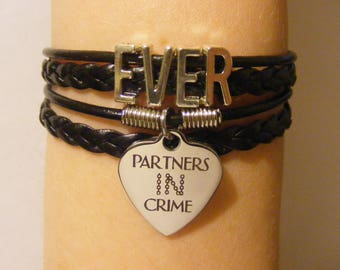 Best friend bracelet, best friend jewelry, partners in crime bracelet, partners in crime jewelry, BFF bracelet, BFF jewelry, fashion jewelry