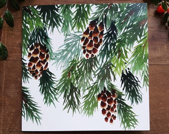 10 pine Christmas cards, pack of Christmas cards, pine cone, pack of greetings cards, set of cards, Watercolour Christmas cards