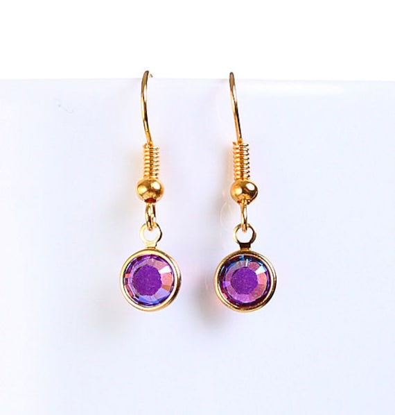 Bridesmaid gift - Petite Amethyst AB purple austrian crystal round gold dangle earrings (698)