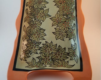 Large ceramic serving tray,  hand built pottery platter with carved flowers and leaves